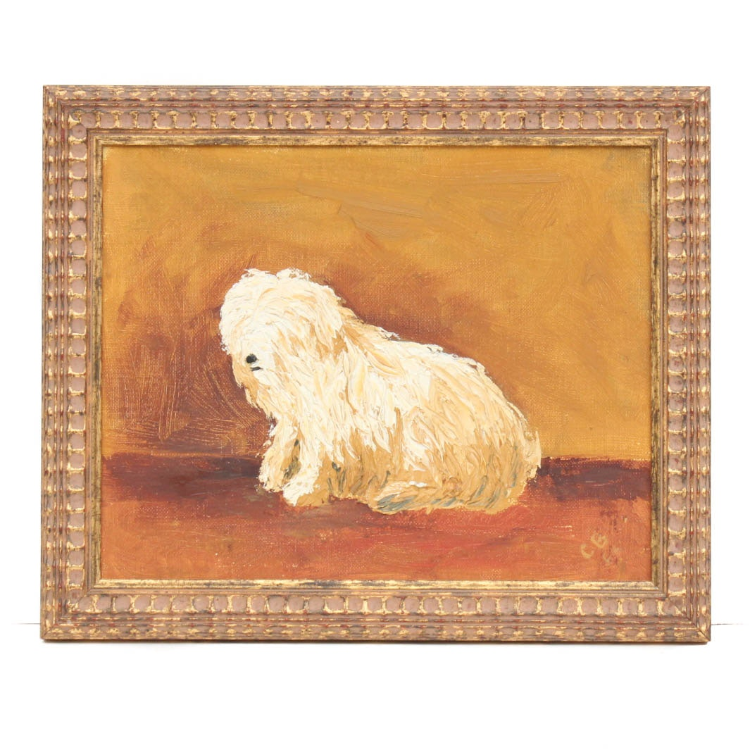 C. B. Oil on Board of English Sheepdog