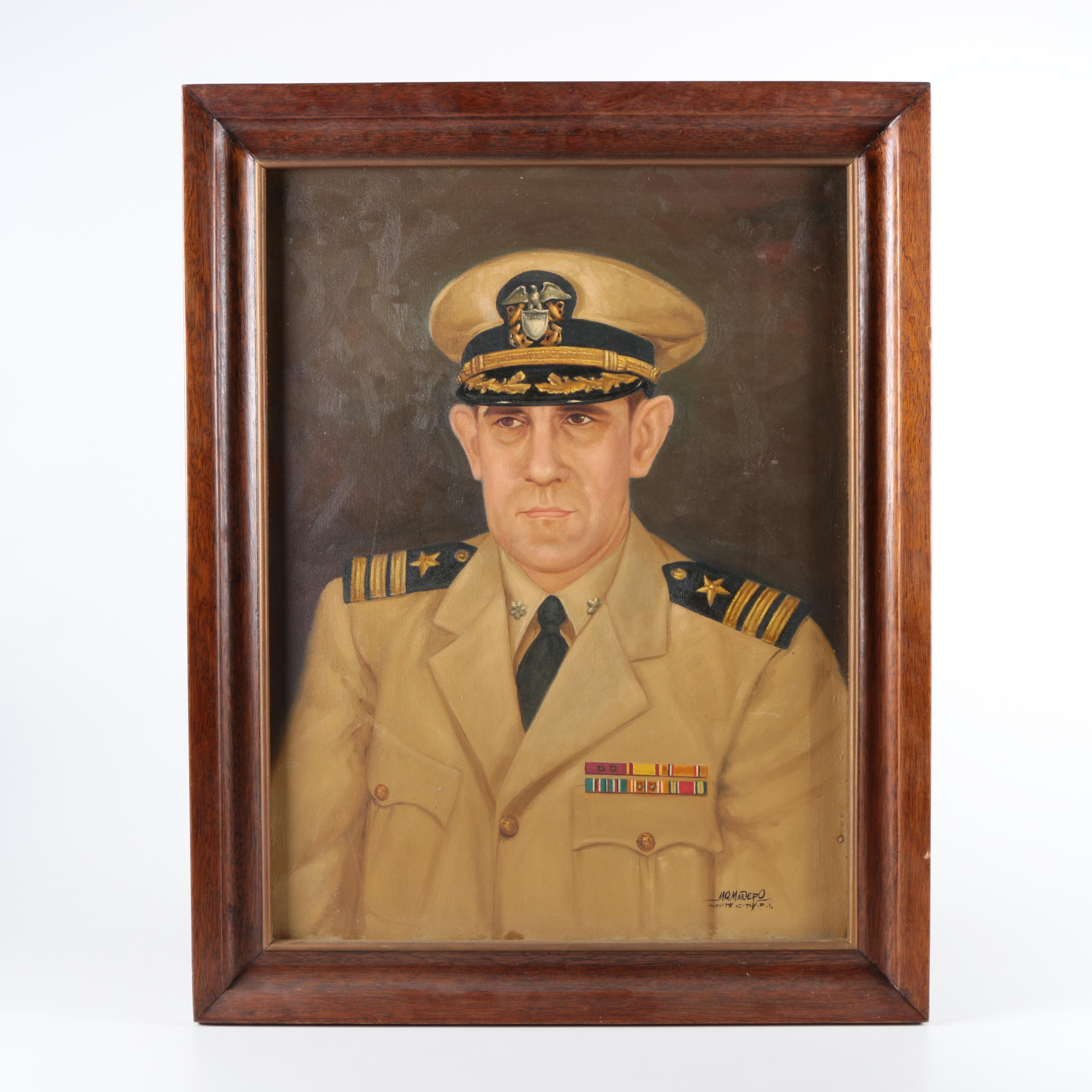 M.Q. Manero Mid Century Oil Portrait on Canvas of U.S. Army General
