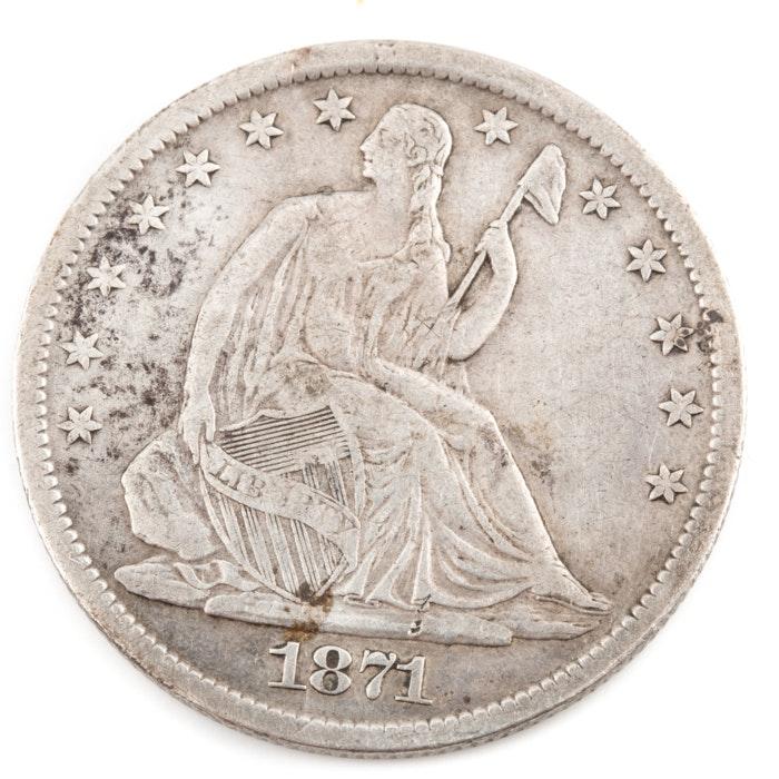 1871 S Seated Liberty Silver Half Dollar