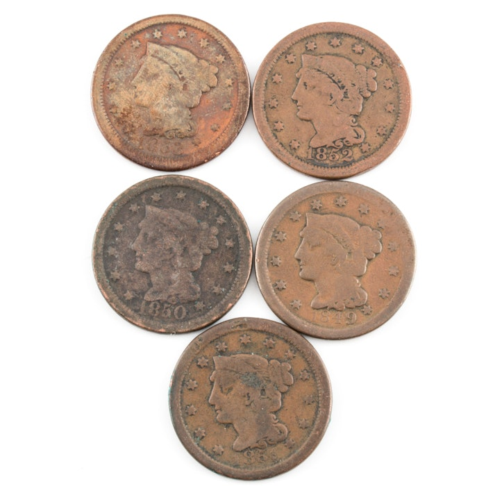 Group of 5 Various U.S. Large Cents Including an 1849