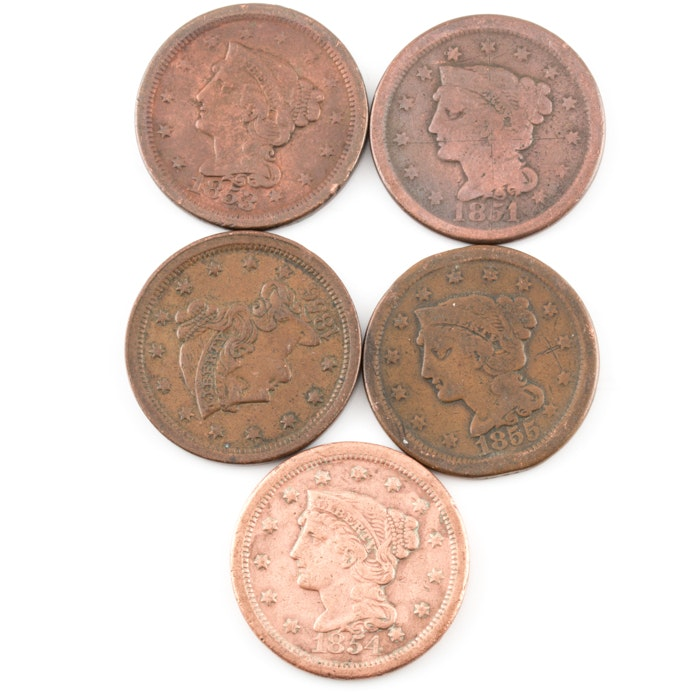 Group of 5 Various U.S. Large Cents Including an 1853