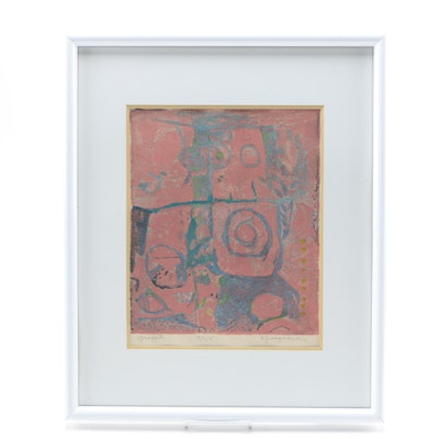 "John Ingvard Kjargaard Woodblock on Paper ""Graffiti"""