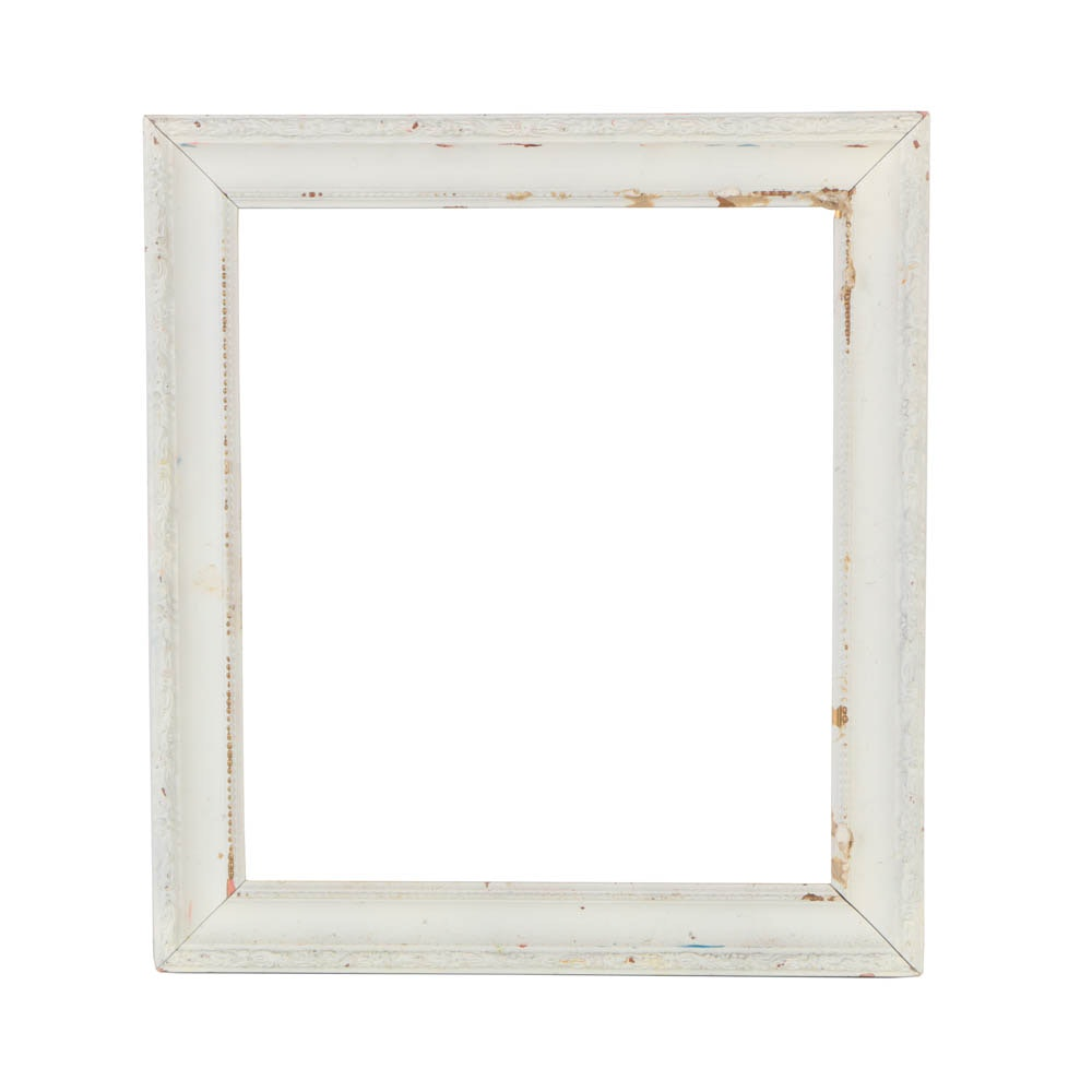"14.25"" W x 16.25"" H Contemporary White Gesso Wood Frame"