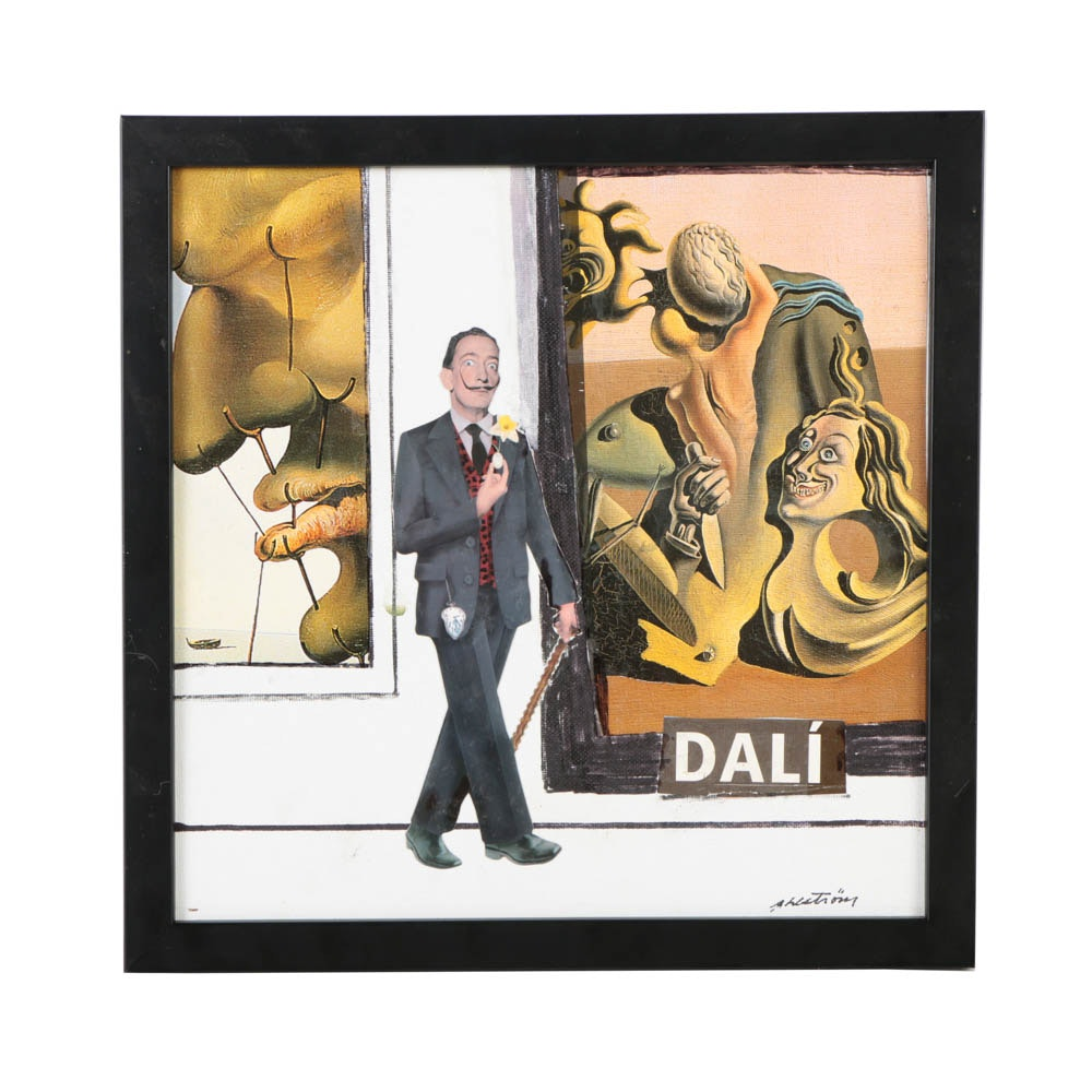 """Ronald Ahlstrom Mixed Media Collage on Canvas B """"Homage to Dali"""""""