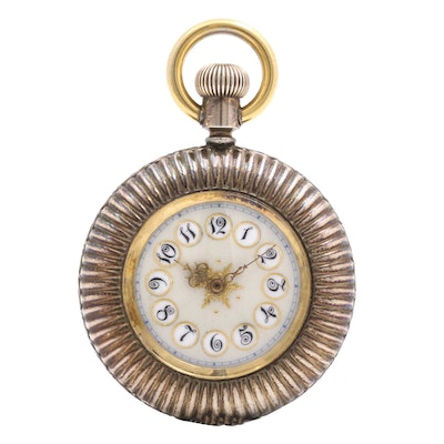 Gold Plated and Coin Silver Seed Pearl Circular Pocket Watch