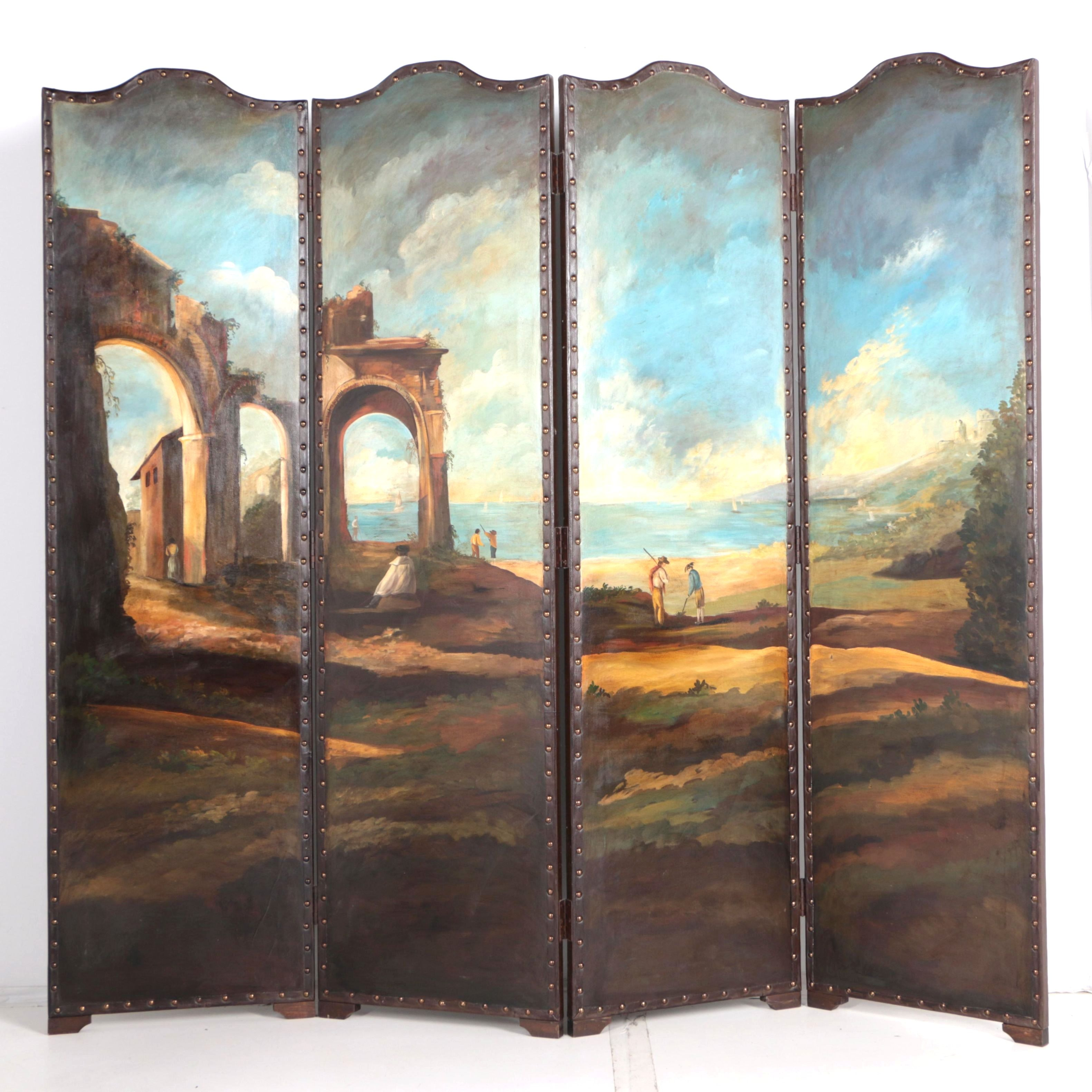 Oil Painting of an Iddylic Landscape on a Leather Upholstered Screen