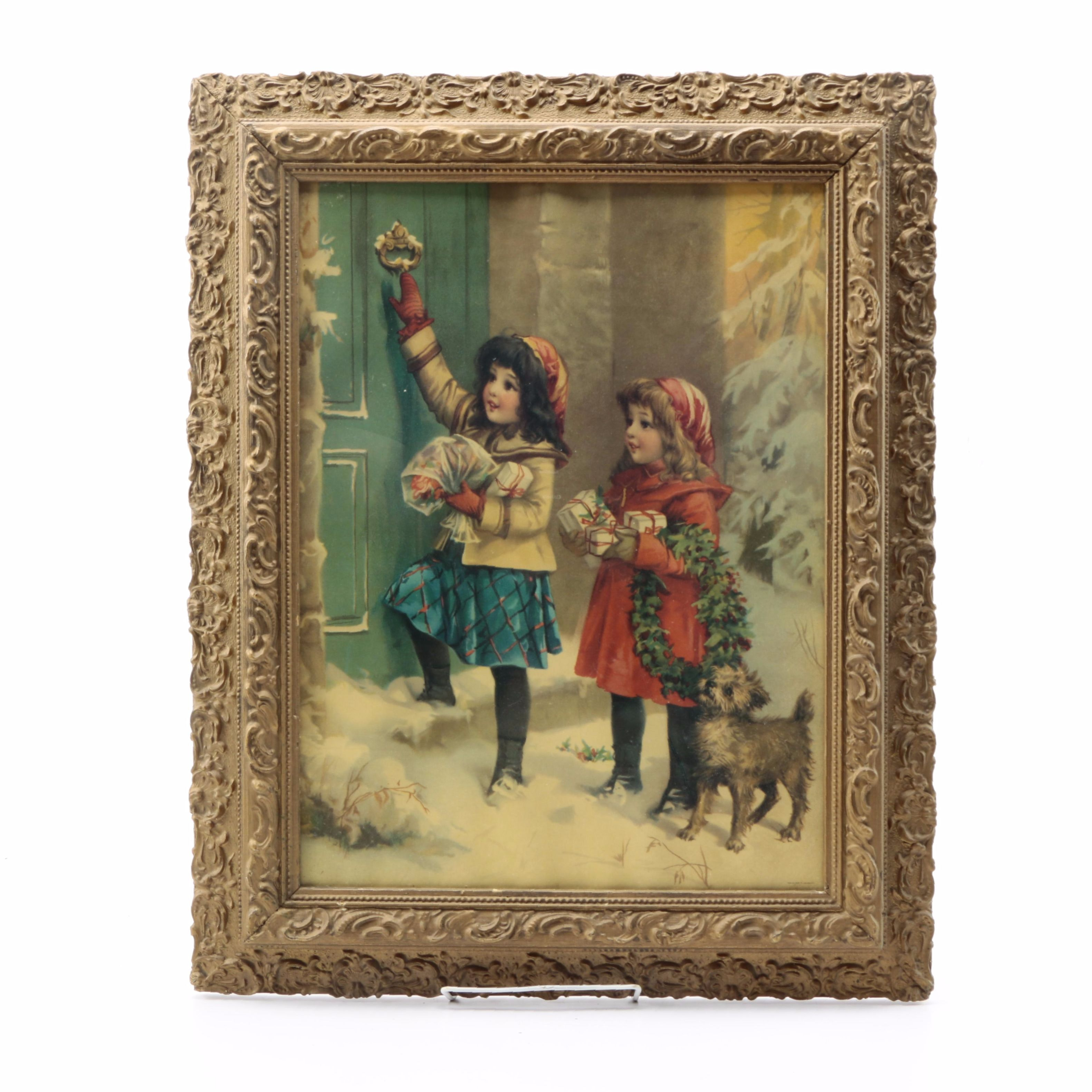 Offset Lithograph of a Vintage Christmas Card