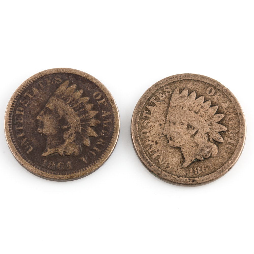 Group of 2 Indian Head Cents Including an 1861 and 1864
