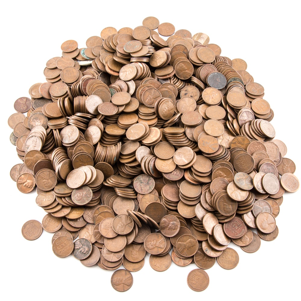 1000 Assorted Lincoln Wheat Ear Cents