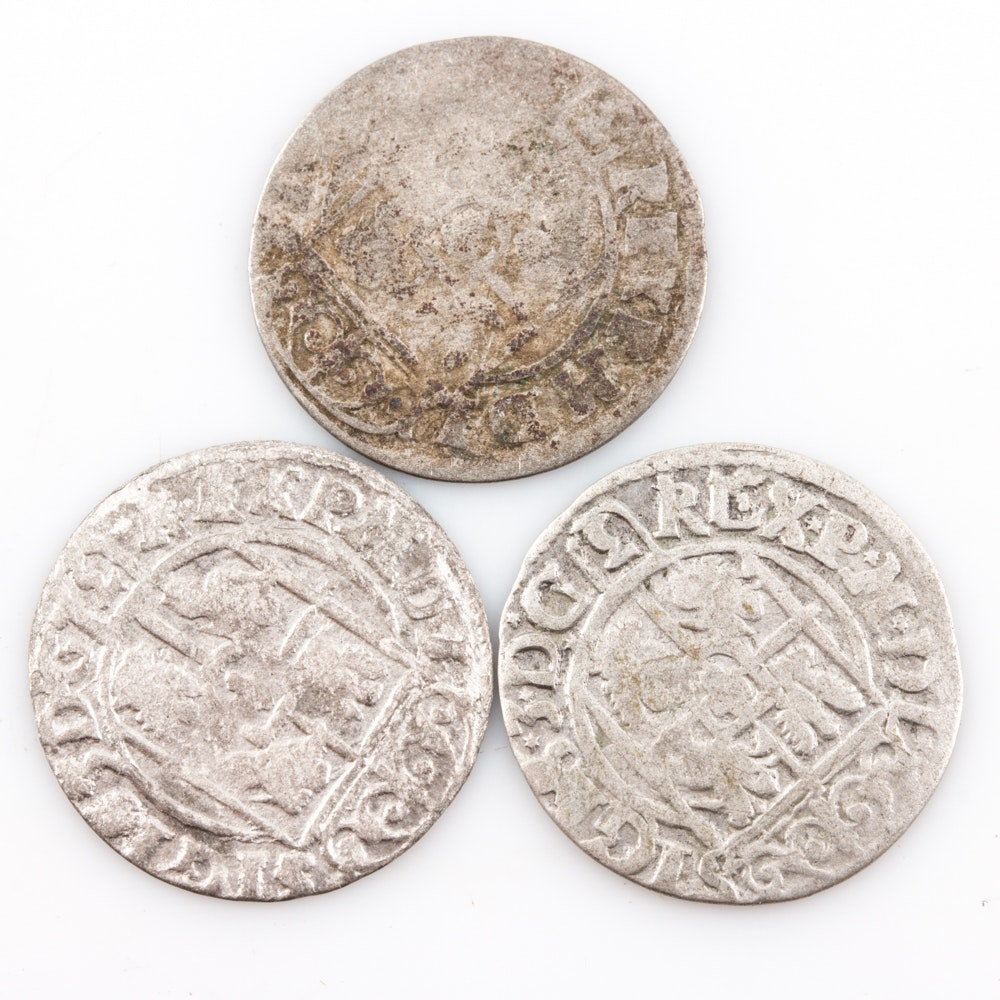 Group of (3) 17th Century Polish-Lithuanian Commonwealth Silver Polker