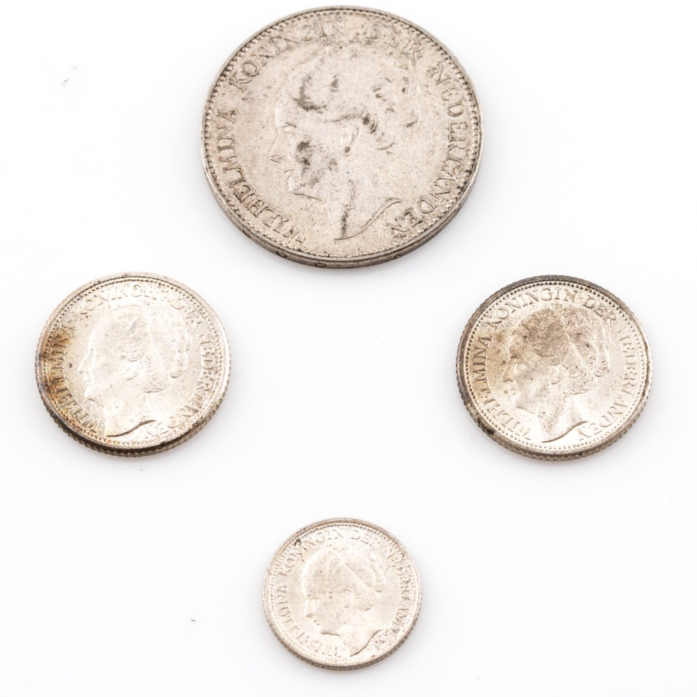 Group of (4) Silver Mid 20th Century Dutch Coins