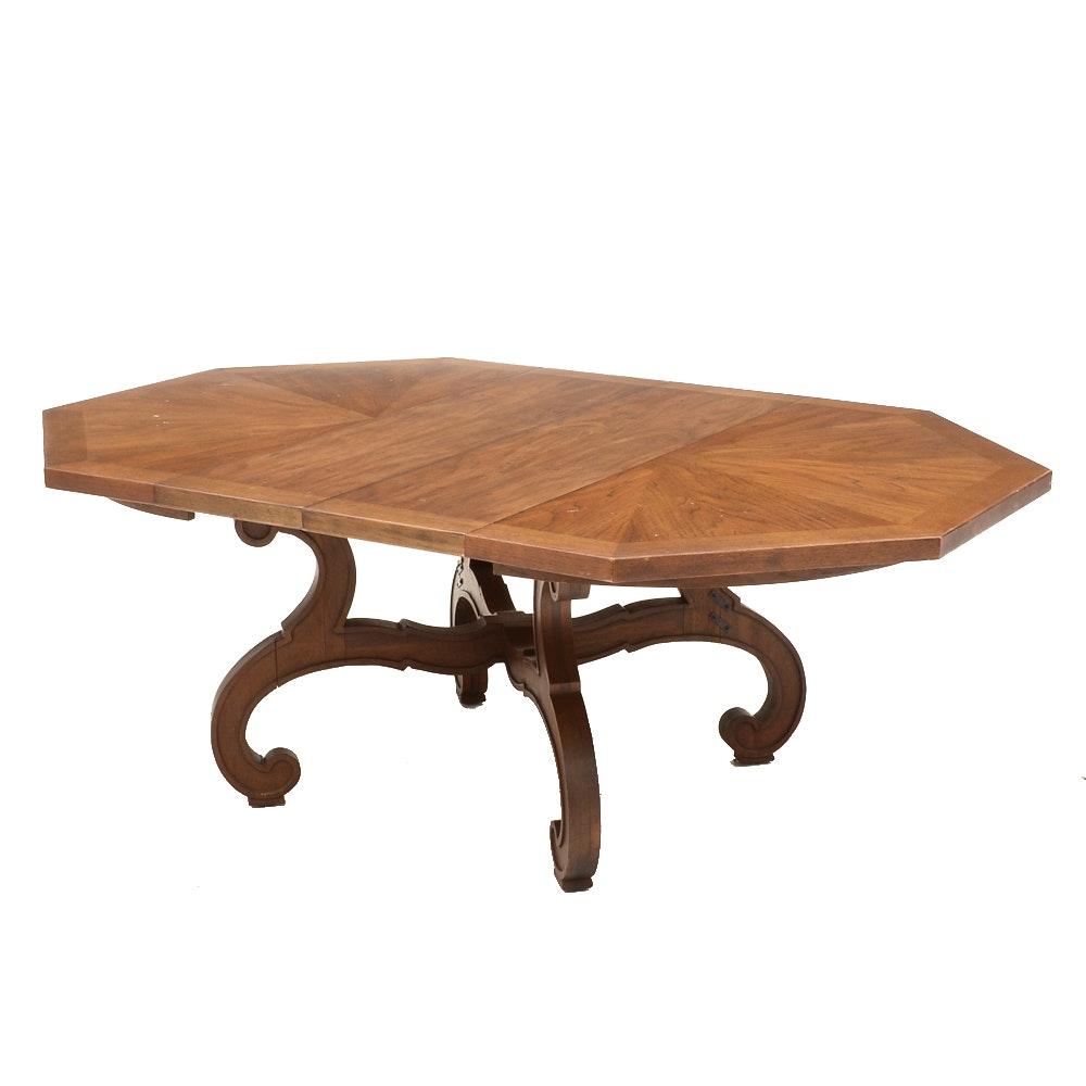 "Octagonal ""Esperanto"" Oak Veneer Table By Drexel"