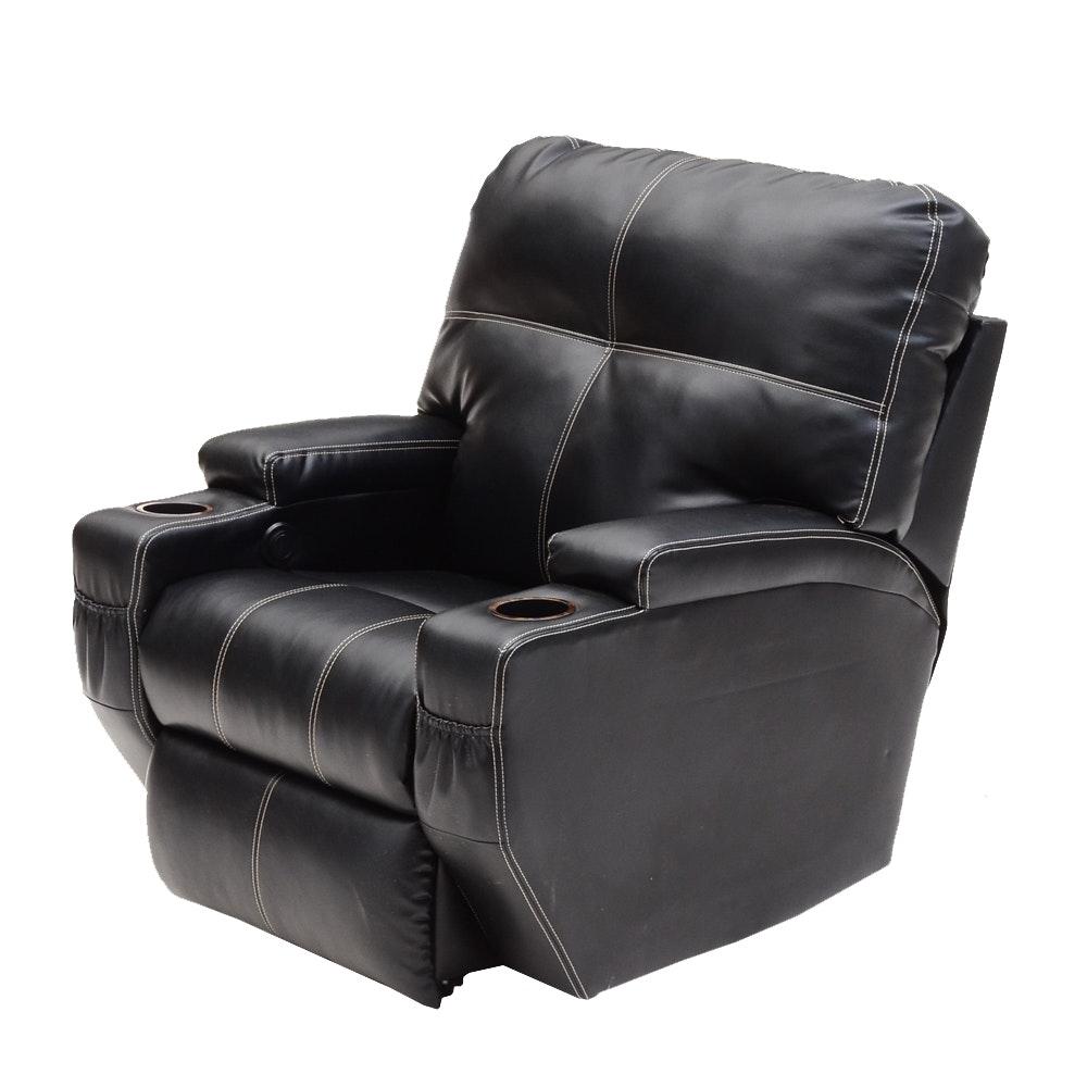 Black Vinyl Theater Style Reclining Arm Chair