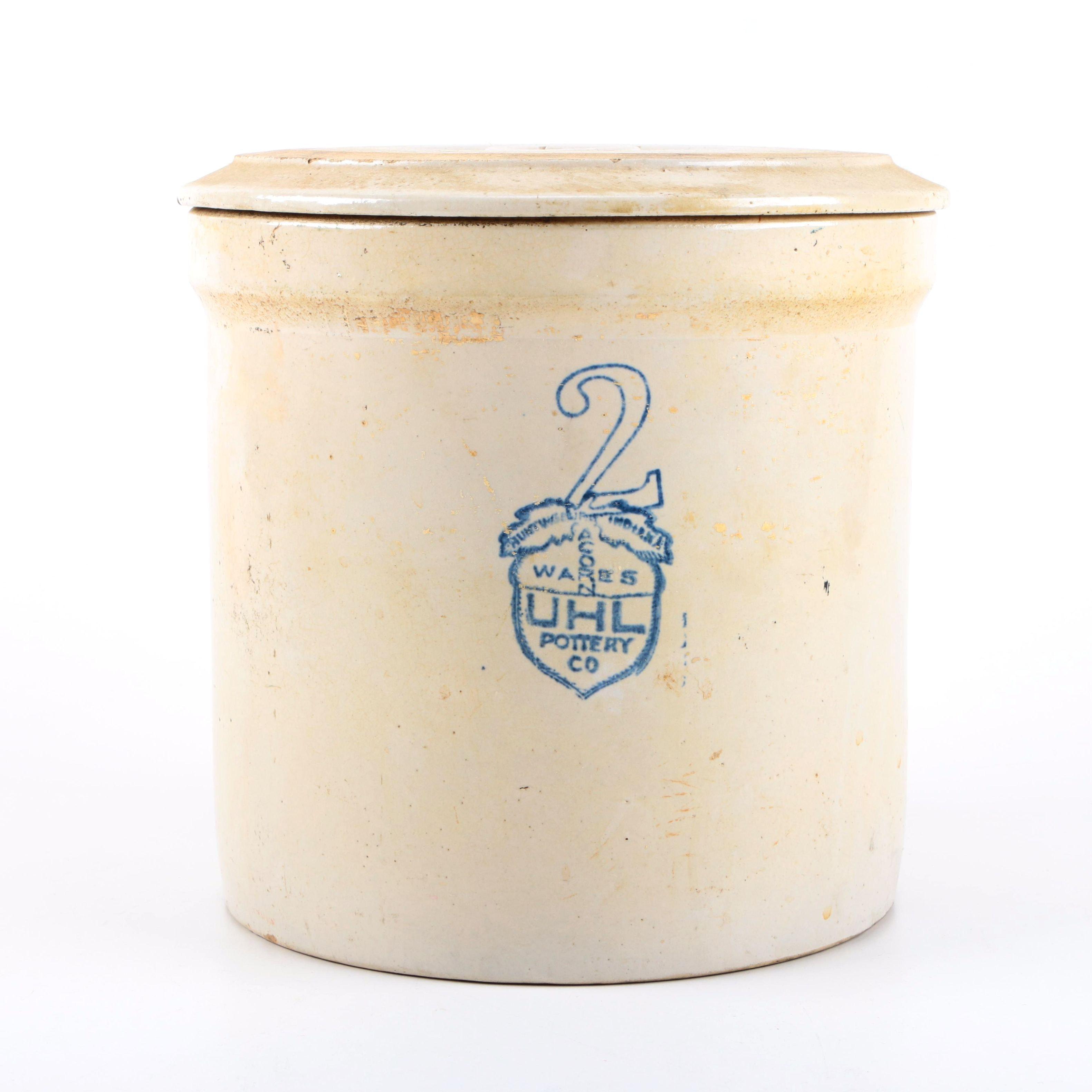 "UHL Pottery Co. ""Acorn Wares"" Stoneware Covered Crock"