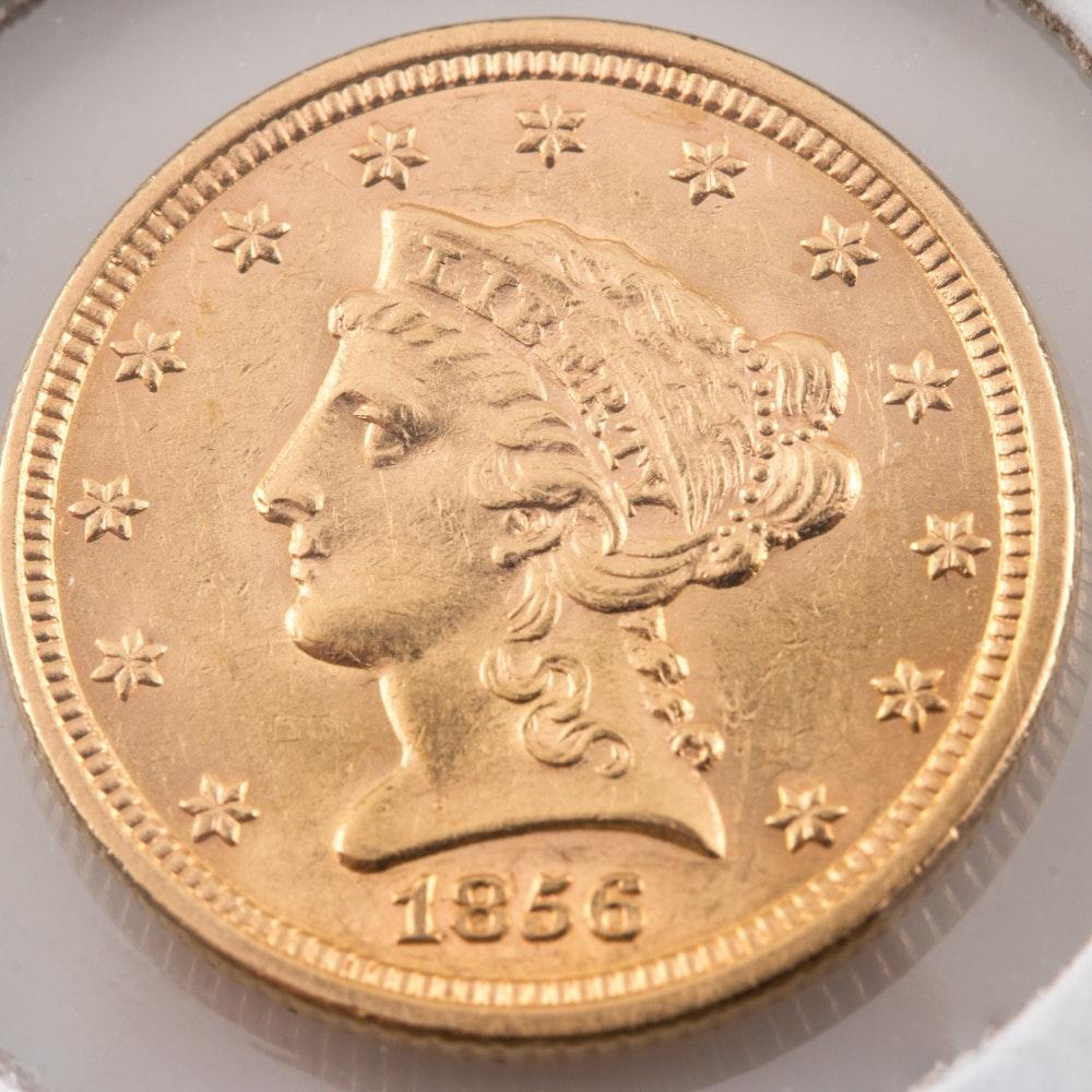 1856 Liberty Head $2 1/2 Gold Coin