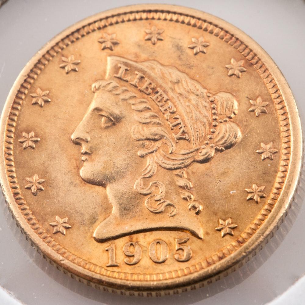 1905 Liberty Head $2 1/2 Gold Coin