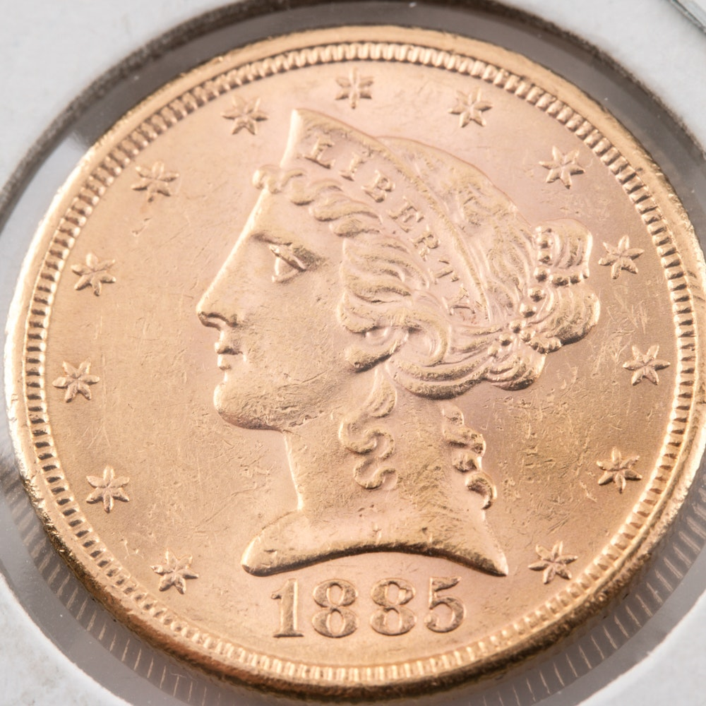 1885-S Liberty Head $5 Gold Coin