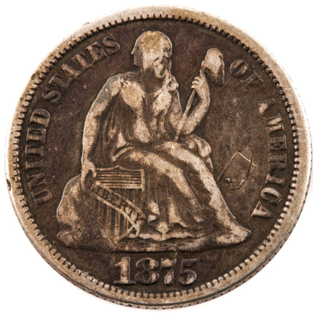 1875 Liberty Seated Dime