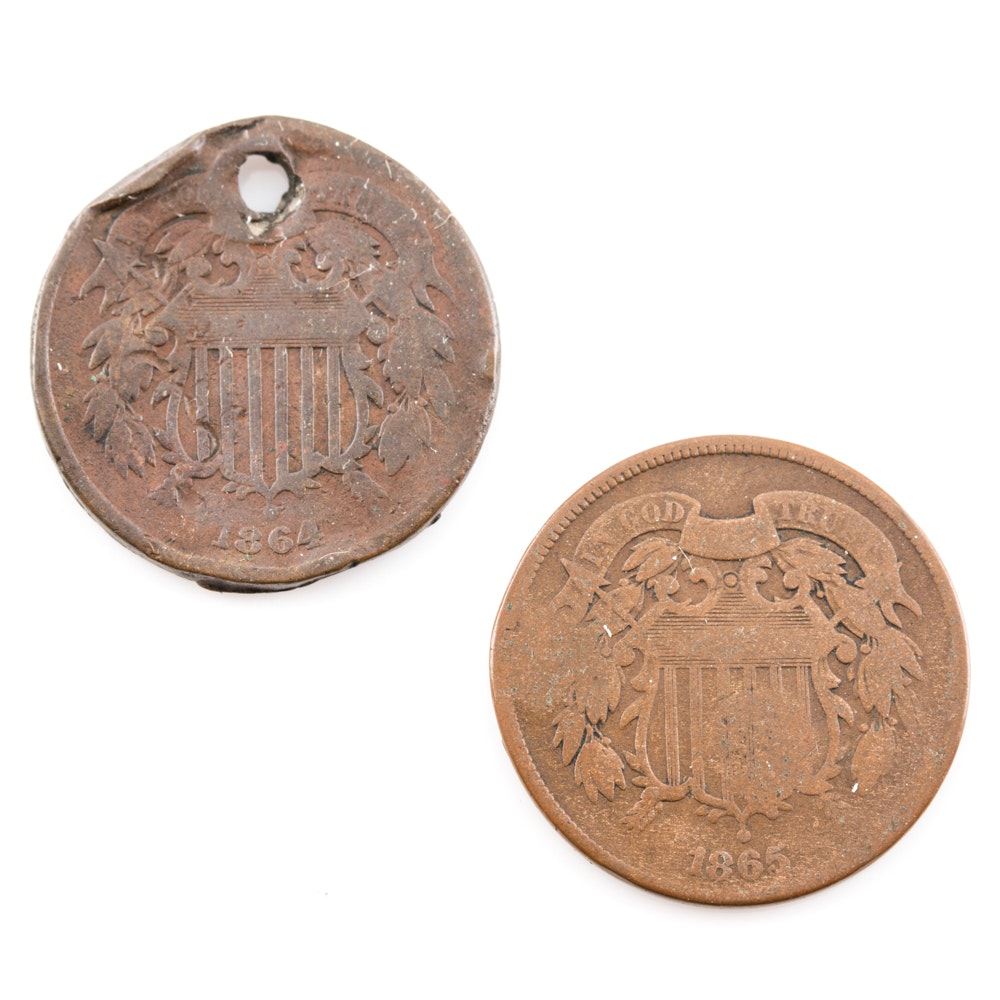 1864 and 1865 Two Cent Coins