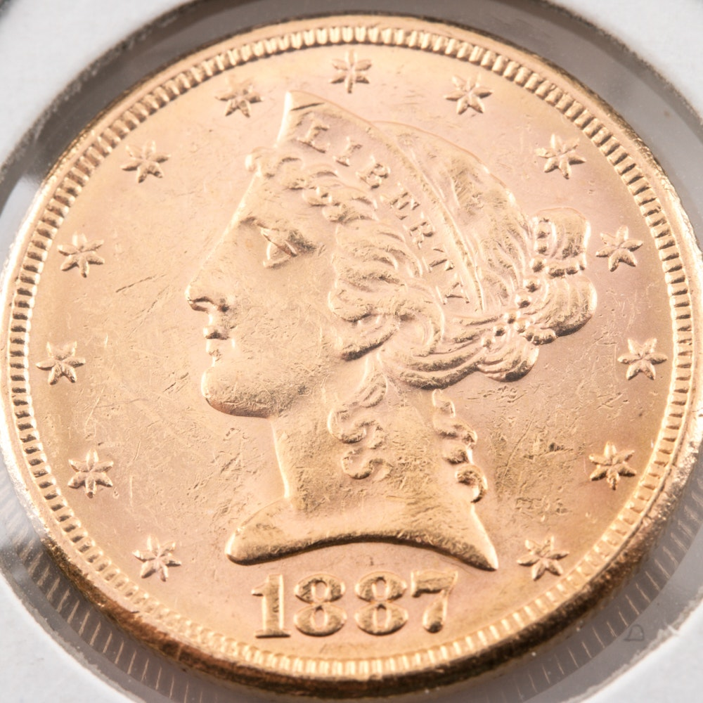 1887-S Liberty Head $5 Gold Coin