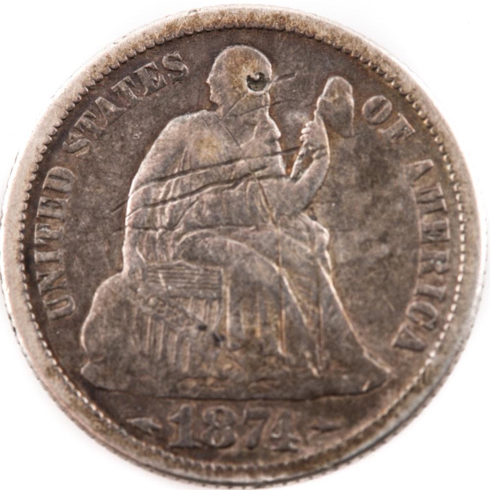 1874 Liberty Seated Dime