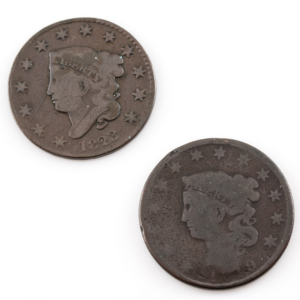 An 1819 and 1822 Coronet Head Large Cent