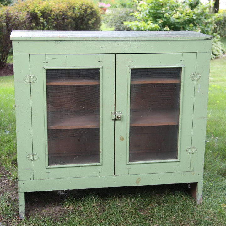 Primitive Style Painted Pie Cabinet