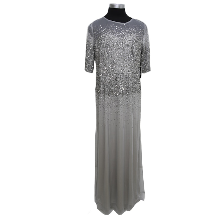 Vintage Adrianna Papell Grey Sequins Evening Gown : EBTH