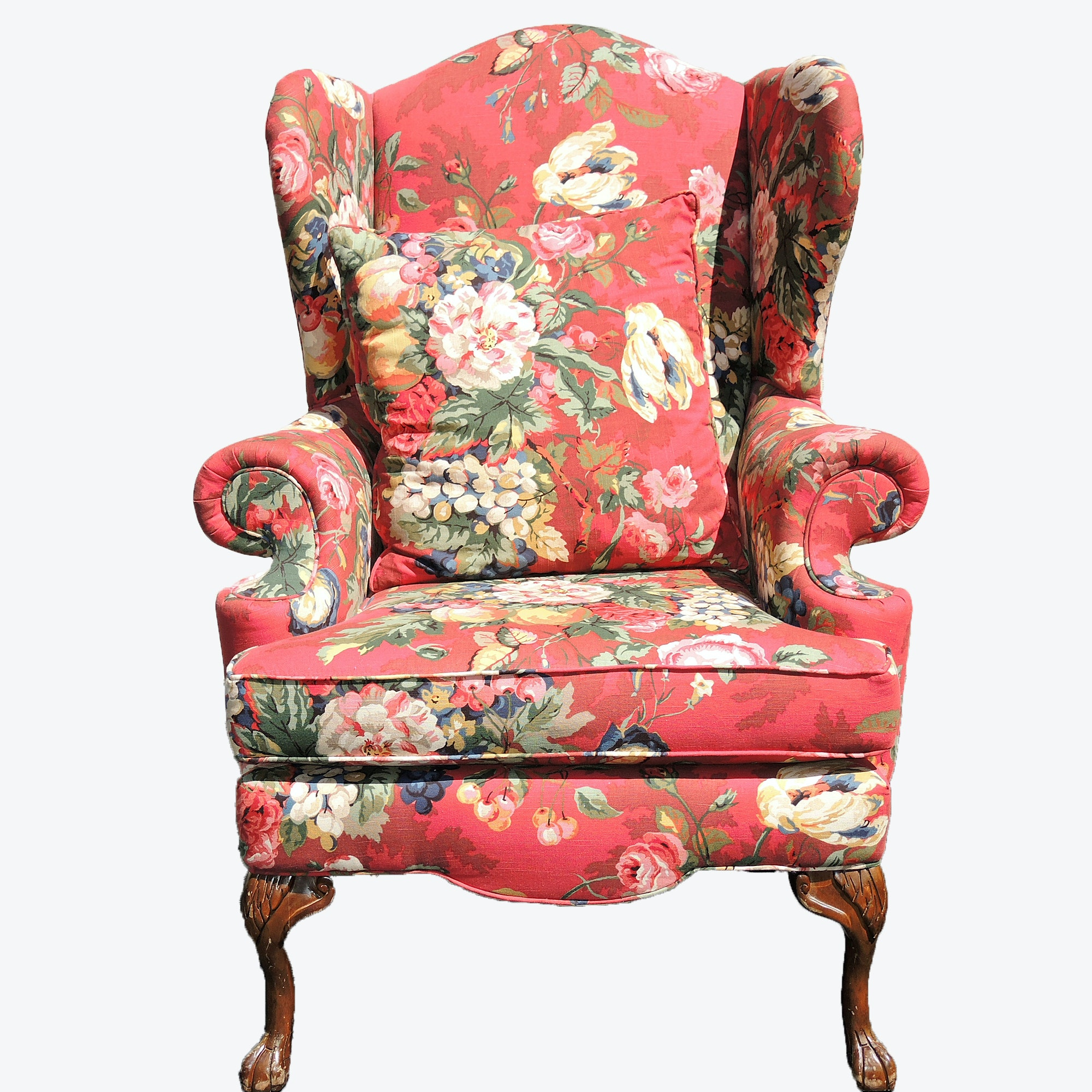 Traditional Wingback Upholstered Arm Chair