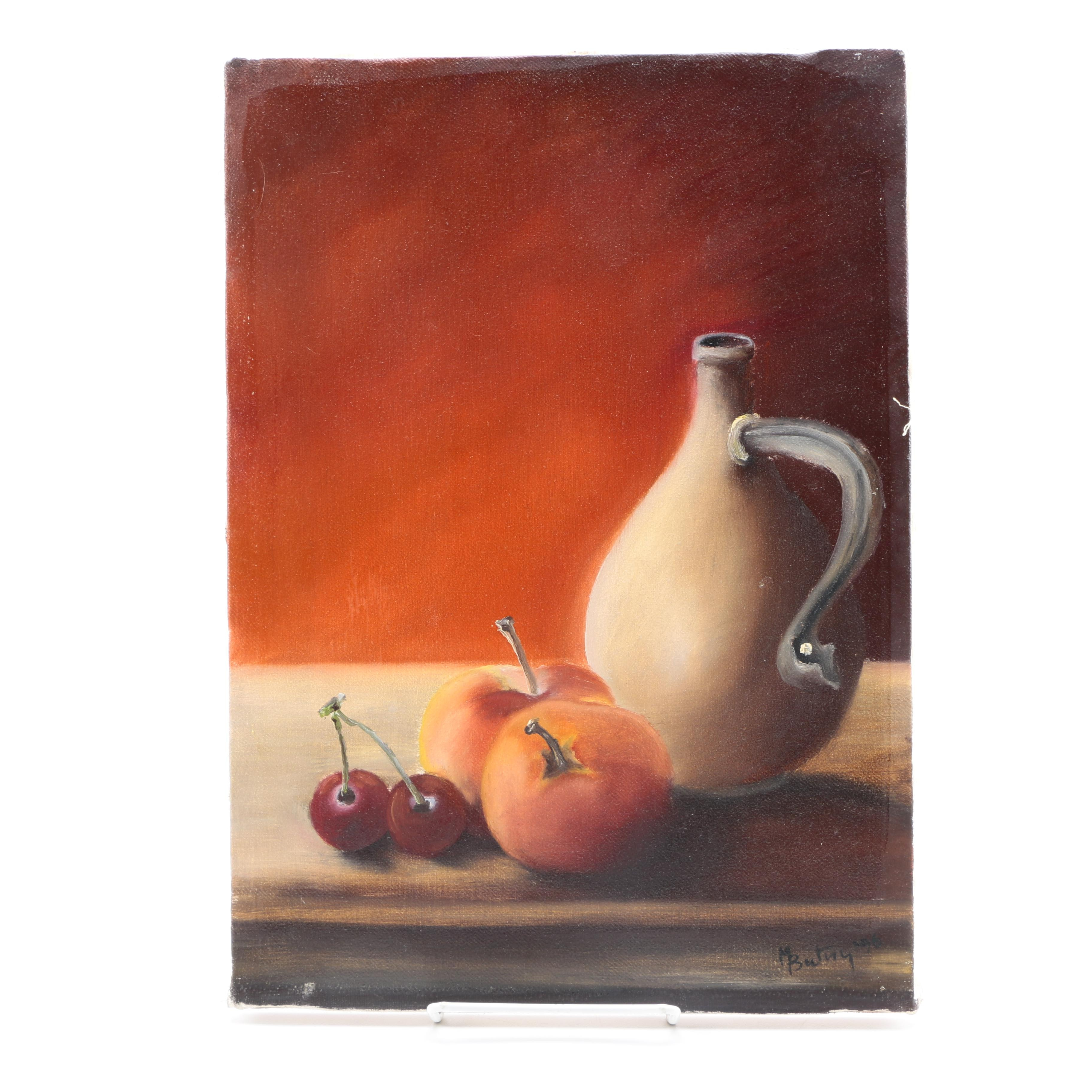 M. Butny Oil Still Life Painting on Canvas