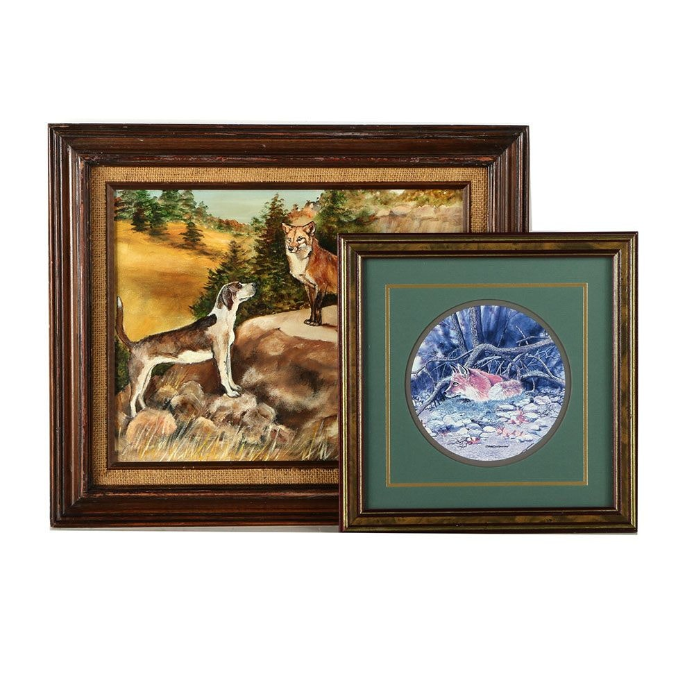 Fox Themed Art Including Oil on Canvas and Offset Lithograph