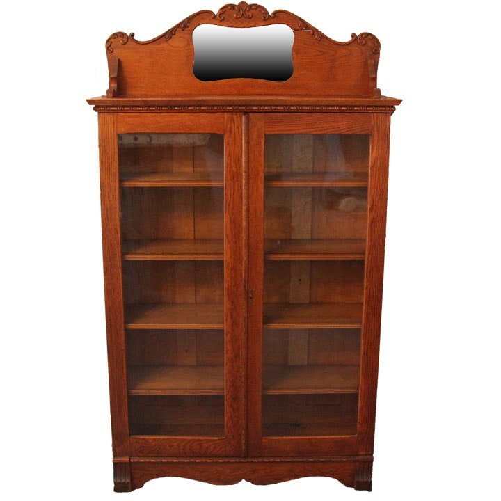 Colonial Revival Oak Bookcase with Mirror