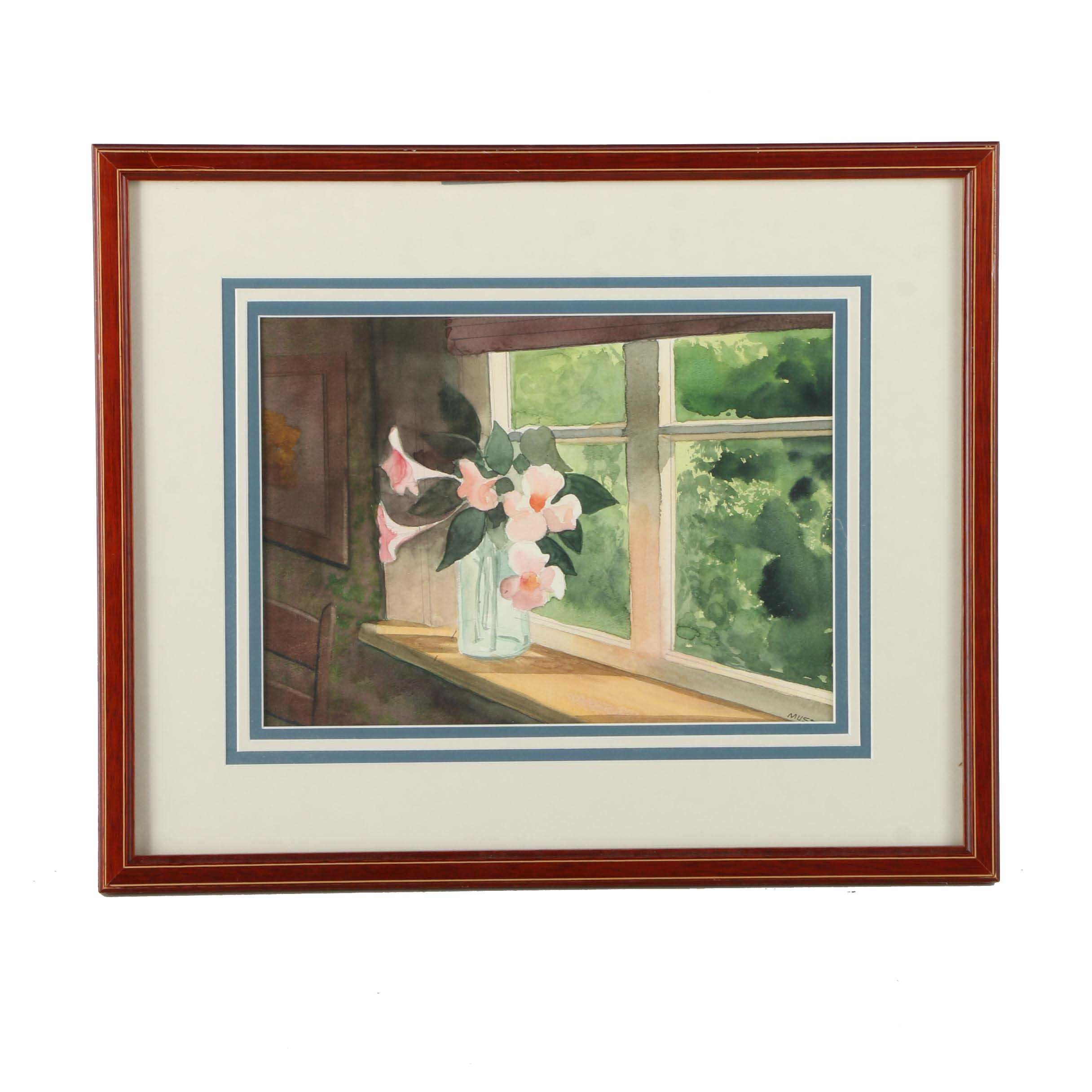 Watercolor Painting on Paper of Pink Flowers on a Sunny Windowsill