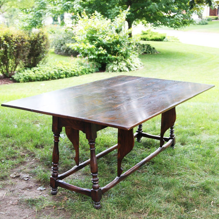 Hand-Crafted Elm Drop-Leaf Table with Butterfly Supports