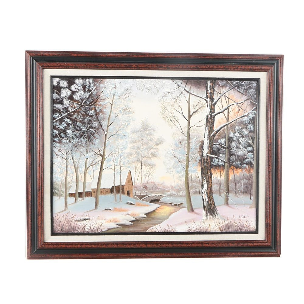 B. Caputo Oil Painting on Canvas of Winter Landscape