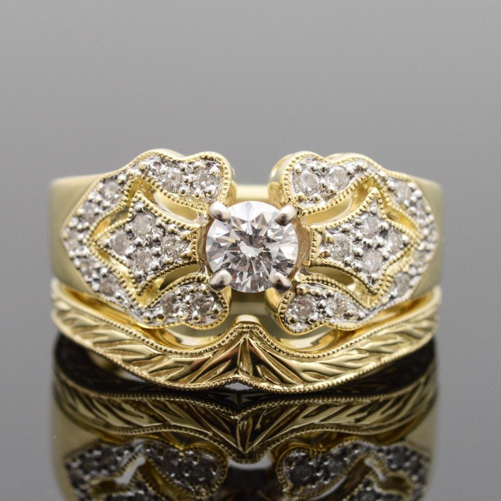 18K Yellow Gold Diamond Wedding Set