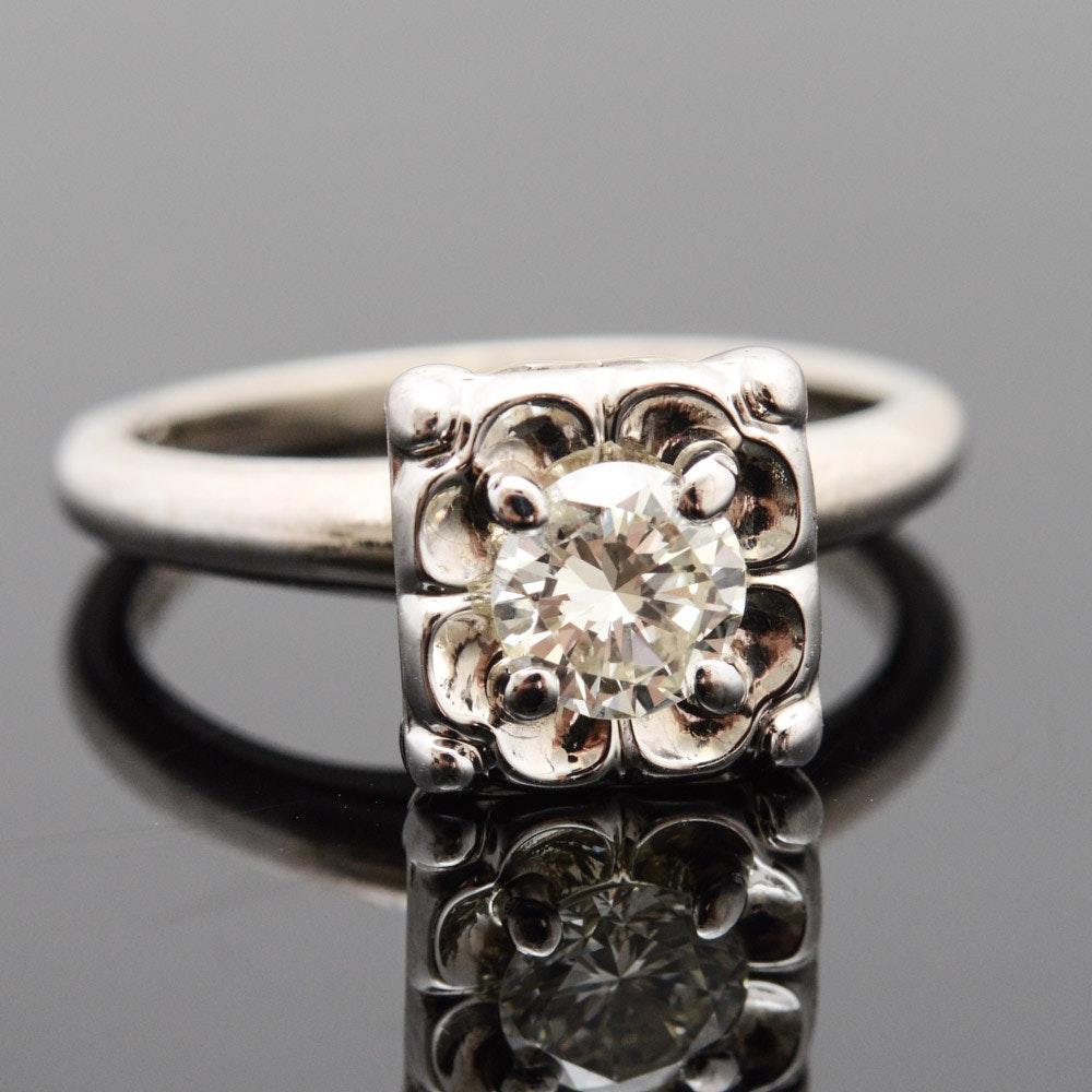 Vintage 14K White Gold Diamond Engagement Ring