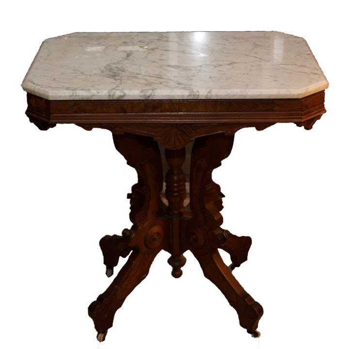 Victorian Walnut Lamp Table with Marble Top