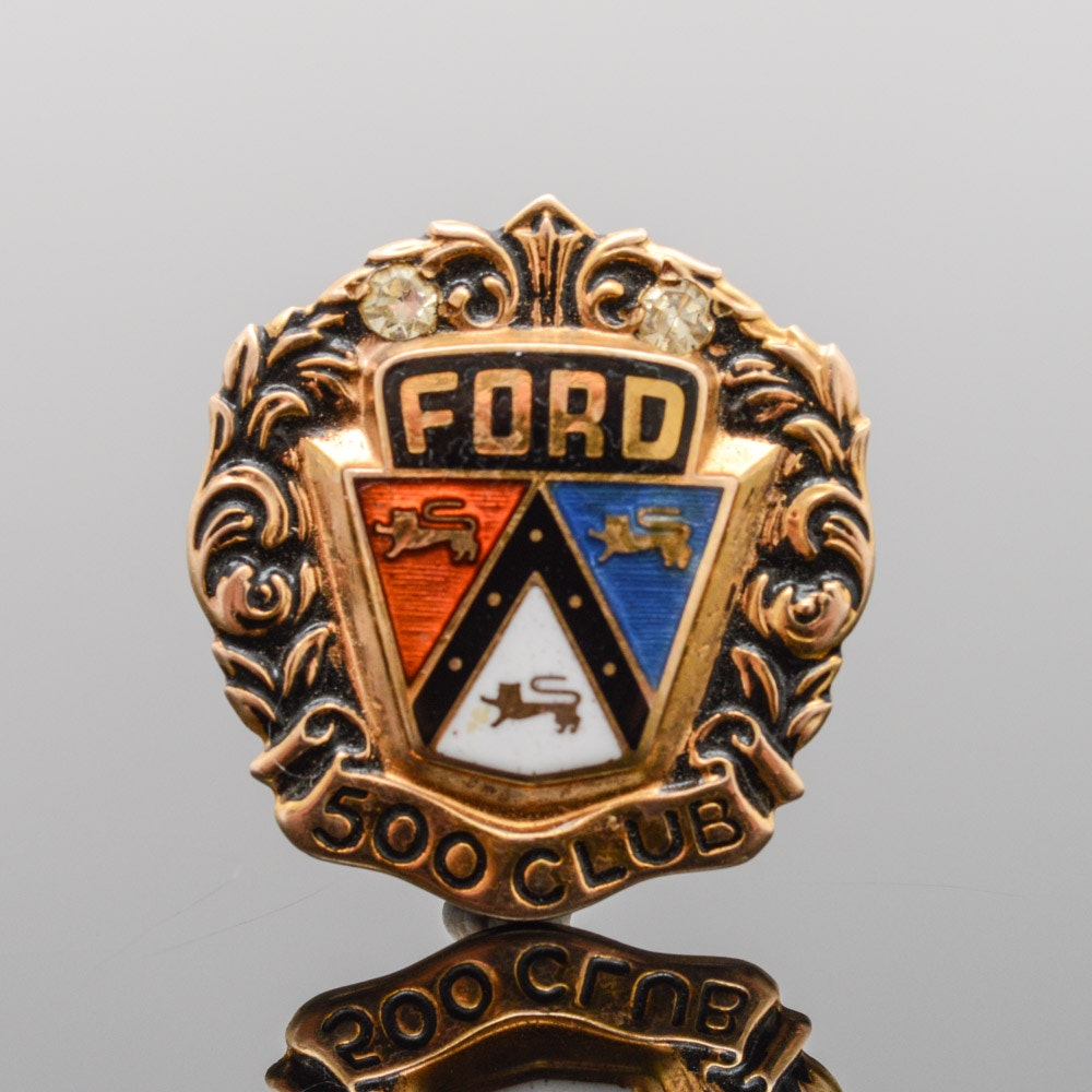 Vintage 10K Yellow Gold Ford 500 Club Pin