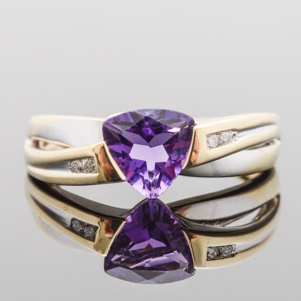 10K Yellow Gold Diamond Amethyst Ring
