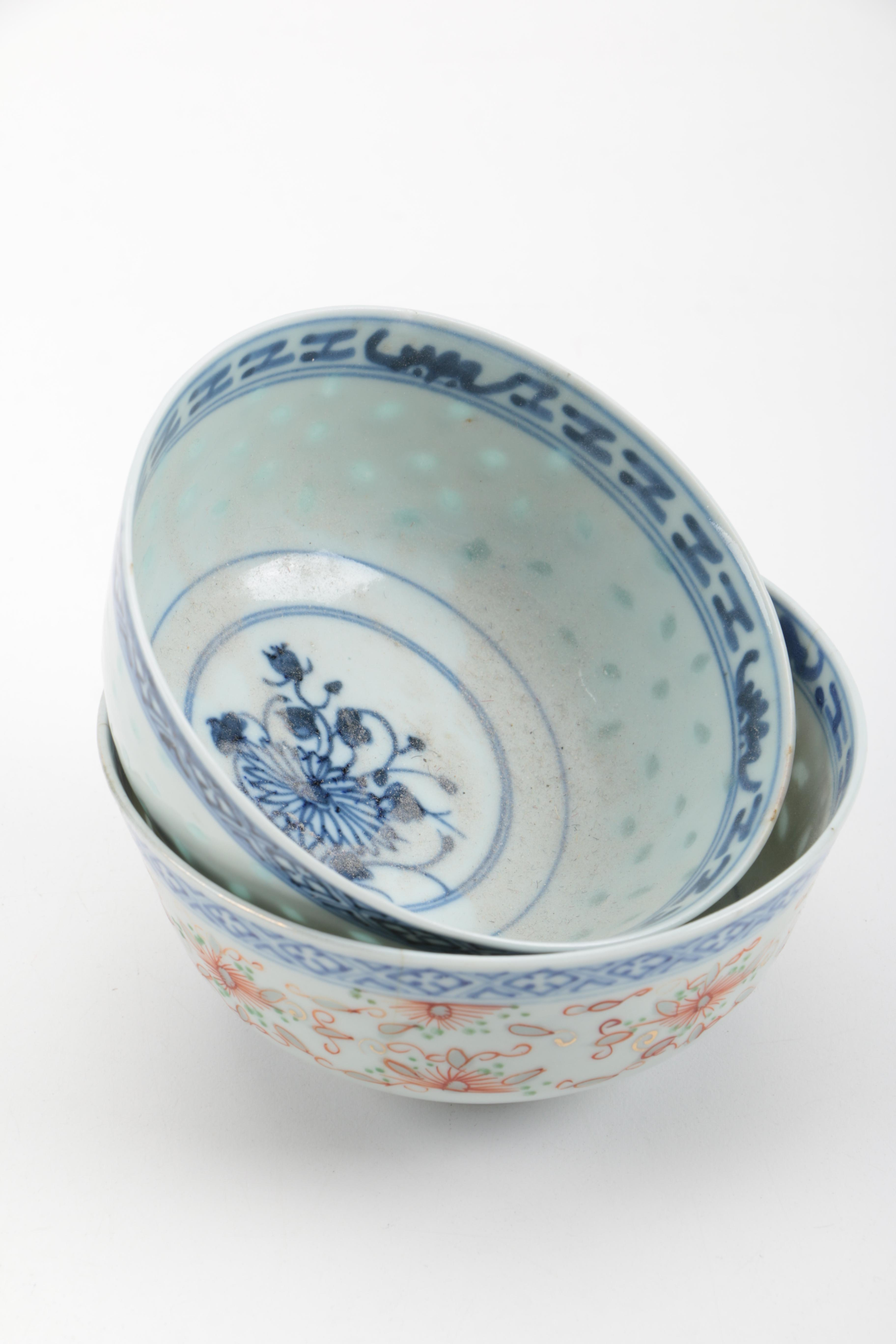 Vintage Hand Painted Blue and White Chinese Porcelain Bowls