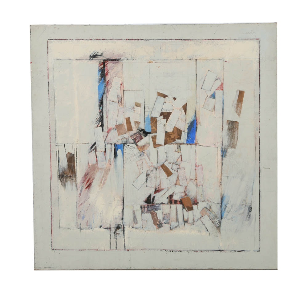 Ronald Ahlstrom Abstract Mixed Media Collage on Canvas