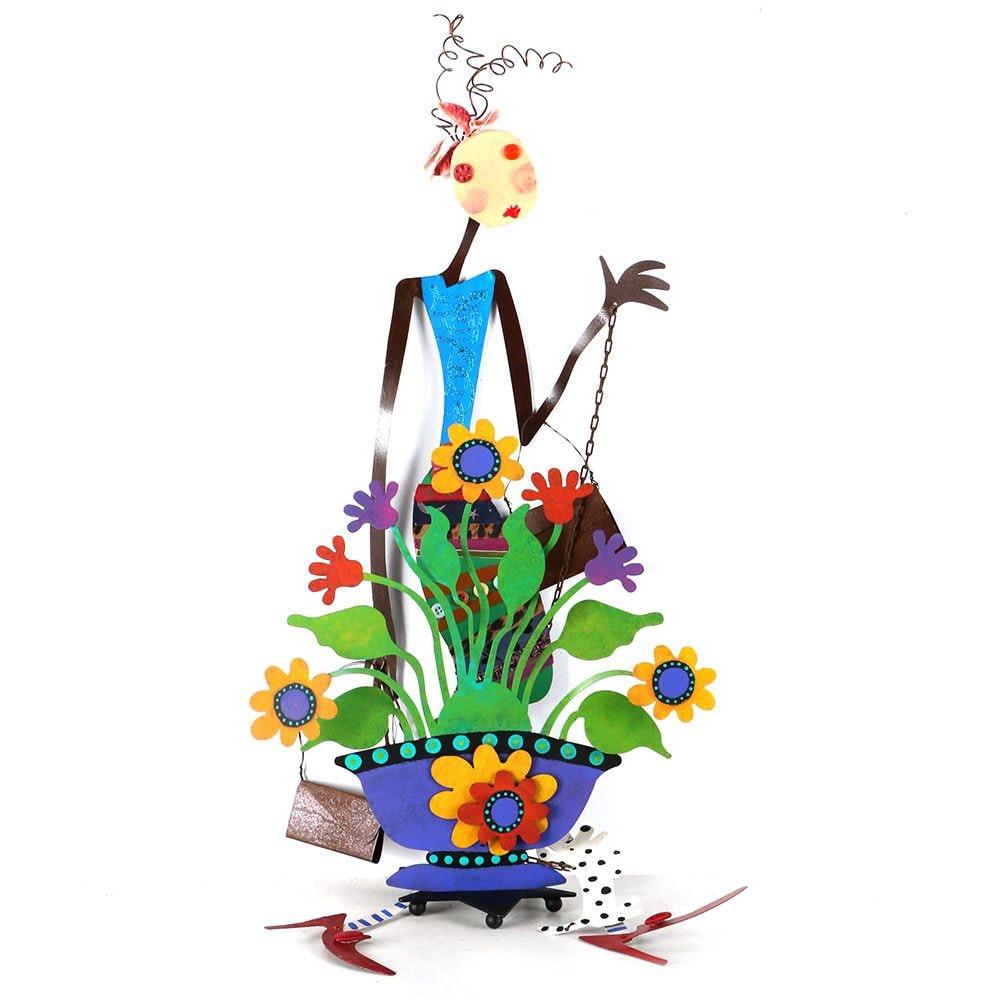"""Metal Sculptures of a Flower Pot and """"Shopper"""""""