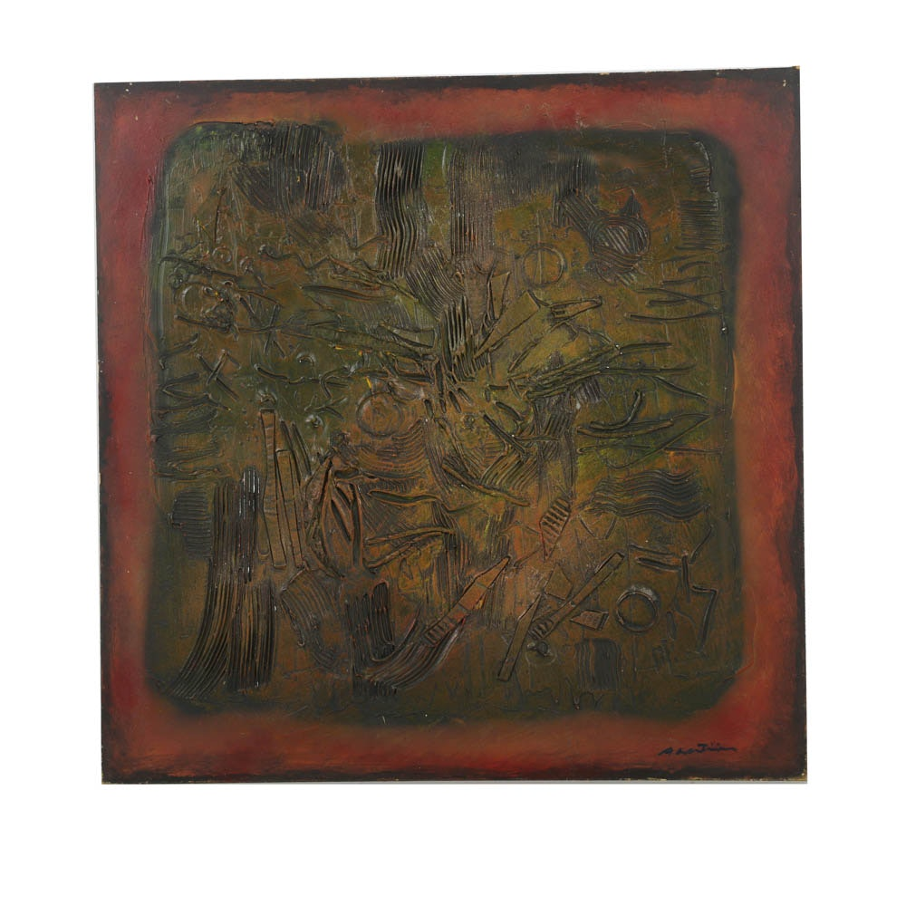 """Ronald Ahlstrom Abstract Mixed Media on Board """"Untitled"""""""