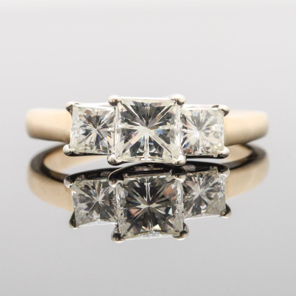 14K Yellow Gold 1.50 CTW Moissanite Engagement Ring