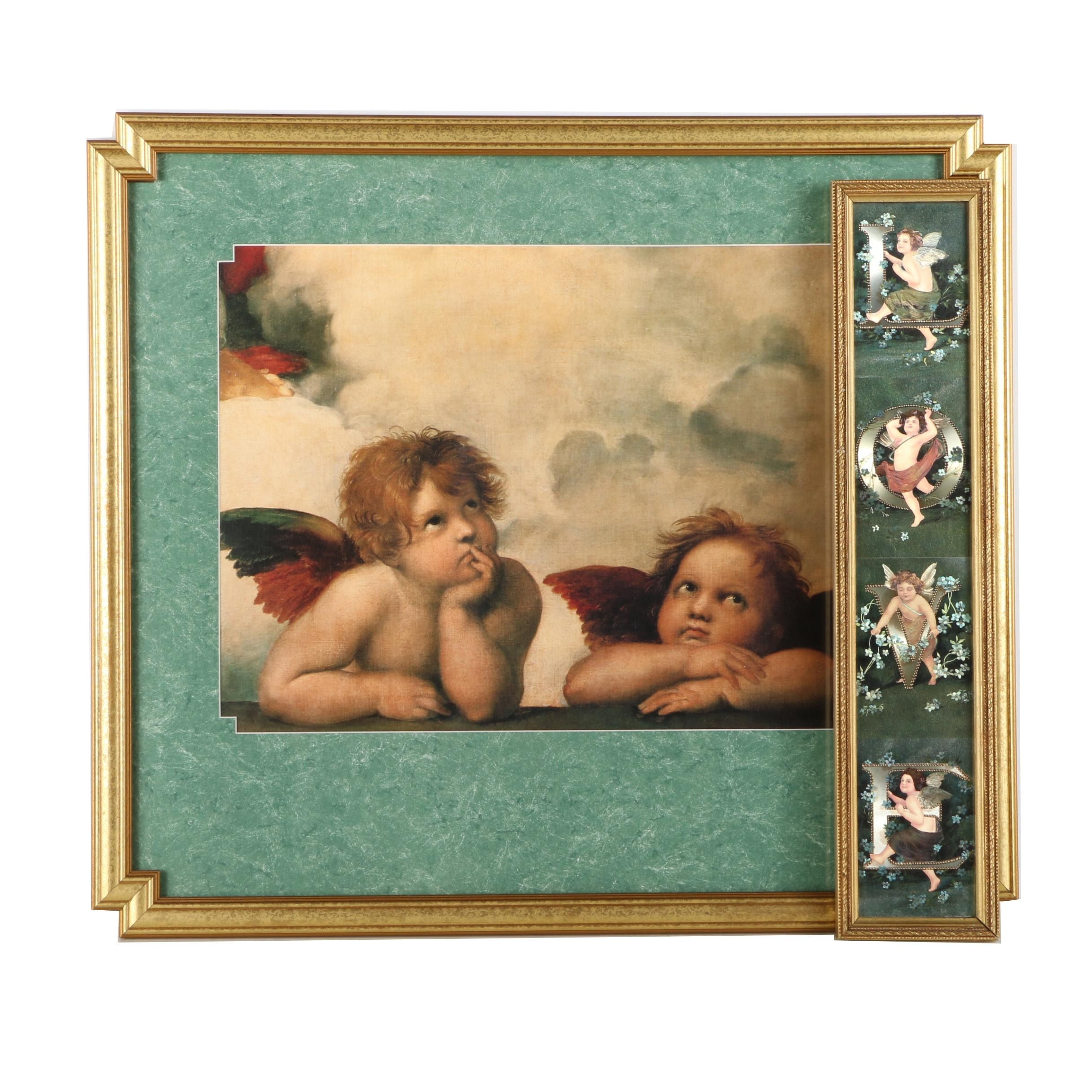 After Raphael Offset Lithograph on Paper of Angels and Offset Lithographs on Foil and Paper Postcards After Irenco Robert Bier