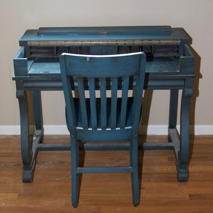 Vintage Blue Painted Spinet Desk with Chair