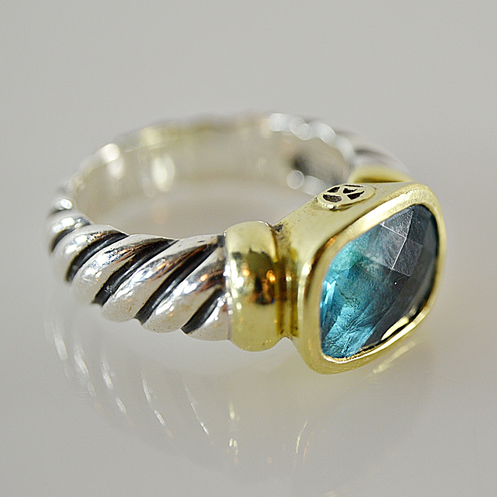 """David Yurman 18K Gold and Sterling """"Noblesse Collection"""" Ring"""