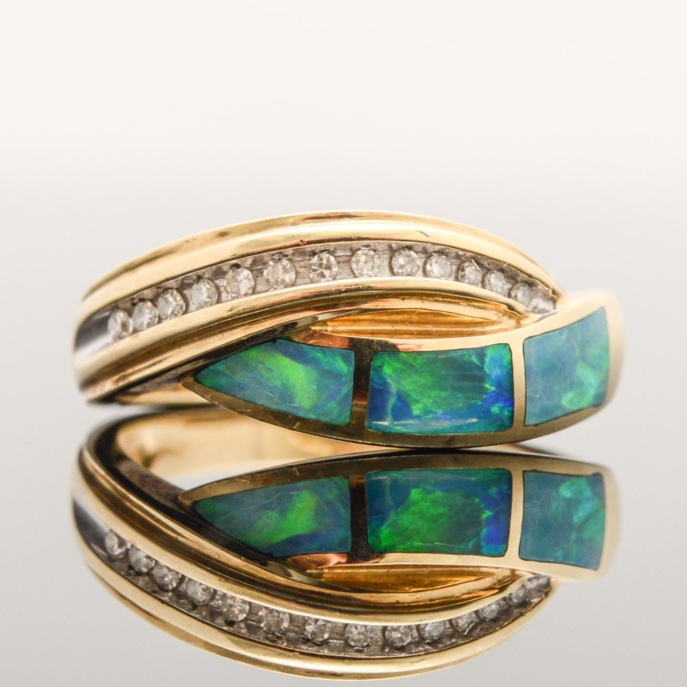 10K Yellow Gold Diamond and Opal Crossover Ring