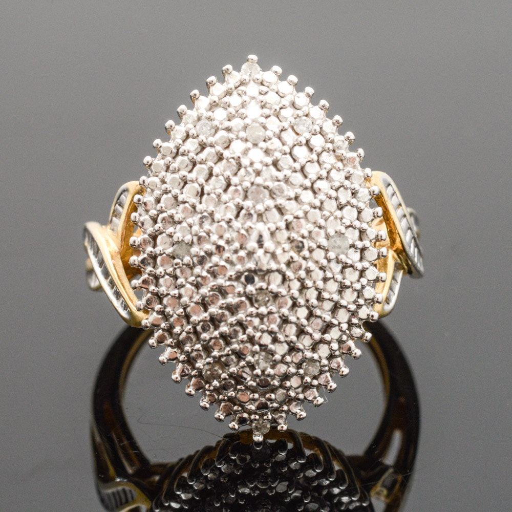Gold Plated Sterling Silver Diamond Cluster Ring